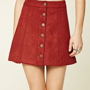 Forever 21 | Red Faux Suede Button Up Mini Skirt